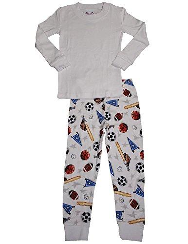 - Sara's Prints - Little Boys Long Sleeve Long John Sport Pajamas, White 35301-4