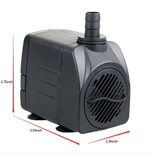 Maxzone 400 GPH (1500L/H, 25W) Submersible Water Pump- Ultra Quiet For Pond, Aquarium, Fish Tank Fountain, Powerful Water Pump with 6ft (1.8m) Power Cord 1500 Impeller