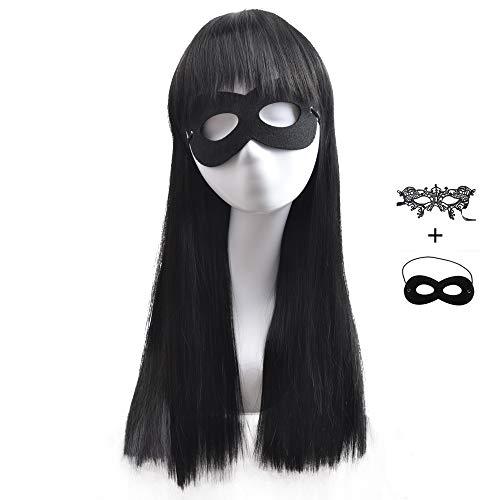 BERON Kids Girls Long Straight Black Cosplay Costume Wig with Two Eye Mask