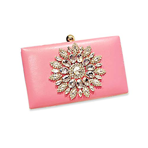 (Womens Evening Clutch Bag Designer Evening Handbag,Lady Party Clutch Purse, Great Gift Choice with Gift Box (Pink-Crystal Diamond Floral))