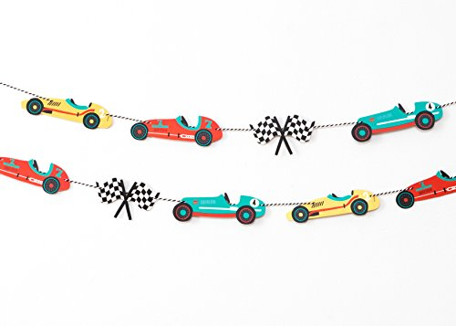 Vintage Race Car - Garland | Race Car Bunting | Kids Party Decor | Nursery, Boys Room Decor | Racing