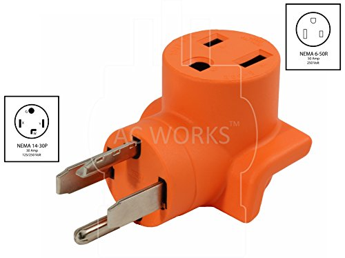 AC WORKS [WD1430650] 30Amp 4-Prong 14-30P Dryer Plug to 6-50R 50Amp 250V Welder adapter by AC WORKS (Image #1)