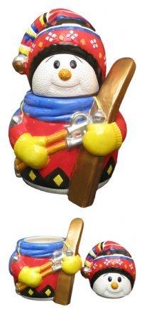 (Colorful Snowman Skier Ceramic Cookie Jar)