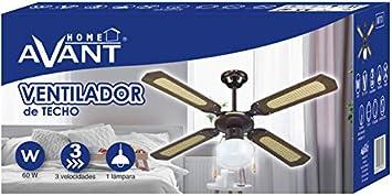 AVANT - Ventilador de Techo 107 Cm, 60W, 3 Velocidades, 1 Lámpara ...