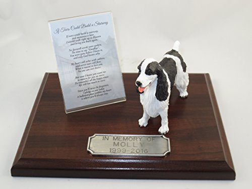 Beautiful Walnut Finished Personalized Memorial Plaque With Black Springer Spaniel (Springer Spaniel Cross)