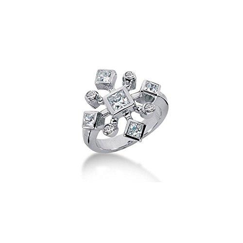 Bezel Set Brilliant Cut Diamond (14K Sprinkled Bezel Set Princess Cut, Round Brilliant Diamonds (1.2ctw.) - Size 9.25)