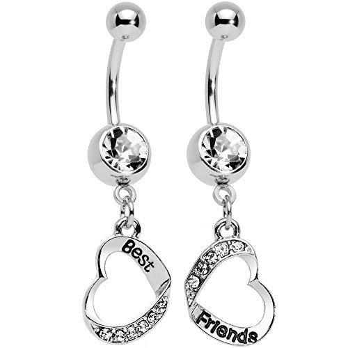 Body Candy Stainless Steel Clear Accent Best and Friends Matching Heart Dangle Belly Ring Set