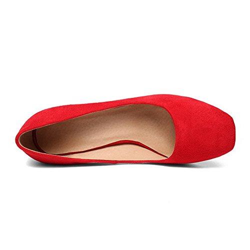 AllhqFashion Mujeres Sin cordones Puntera Cuadrada Cerrada Tacón ancho Sólido De salón Rojo