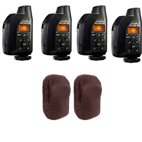 4 Pcs PocketWizard Plus III Transceiver 801-130 Relay Radio Slave Transmitter Receiver + 2 Carrying - Wizard Pocket Radio Receiver Transmitter