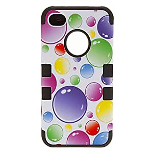 LCJ Bubble Pattern Back Case + Touch Screen Pen + Protect Film for iPhone 4/4S(Assorted Color) , Black