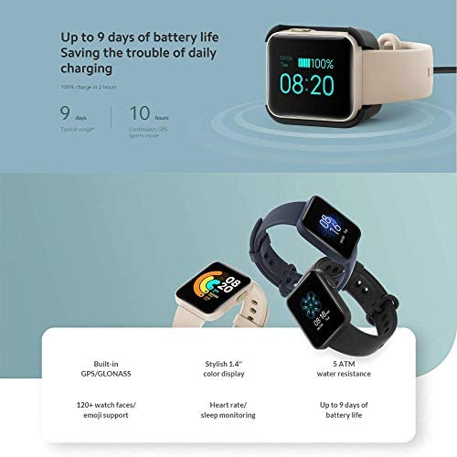 Xiaomi Mi Watch Lite Global Version GPS Fitness Tracker 24H Heart Rate Monitor Sport Bracelet 1.4 Inch Bluetooth 5.0 Smartwatch