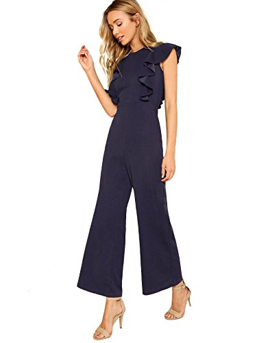 ROMWE Women's Sexy Casual Sleeveless Ruffle Trim Wide Leg High Waist Long Jumpsuit Navy S (Best Formal Suits 2019)