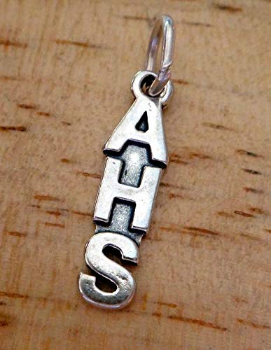 Anderson Sterling Silver Charm - Sterling Silver 21x5mm AHS ie. Anderson High School etc. Charm Vintage Crafting Pendant Jewelry Making Supplies - DIY for Necklace Bracelet Accessories by CharmingSS