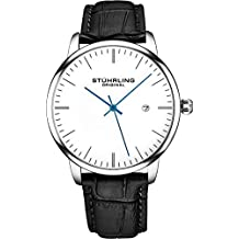 Stuhrling Original Mens Watch Black Leather Strap - Dress + Casual Design - White Analog Watch Dial with Date, 3997Z Watches for Men Collection