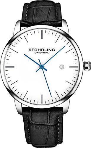 ens Watch Black Leather Strap - Dress + Casual Design - White Analog Watch Dial with Date, 3997Z Watches for Men Collection ()