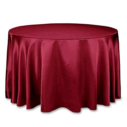Burgundy Elegance Round Tablecloth - LinenTablecloth 108-Inch Round Satin Tablecloth Burgundy