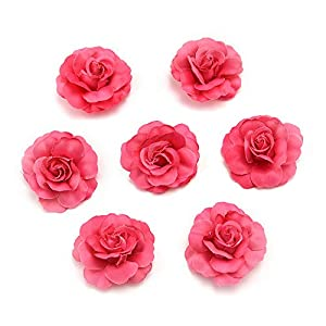Flower Heads in Bulk Wholesale for Crafts Artificial Silk Mini Rose Fake Flower Head Wedding Home Decoration DIY Party Festival Decor Garland Scrapbook Gift Box Craft 30pcs/lot (Rose red) 1
