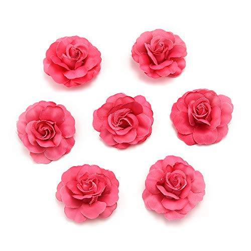 Flower Heads in Bulk Wholesale for Crafts Artificial Silk Mini Rose Fake Flower Head Wedding Home Decoration DIY Party Festival Decor Garland Scrapbook Gift Box Craft 30pcs/lot (Rose red)