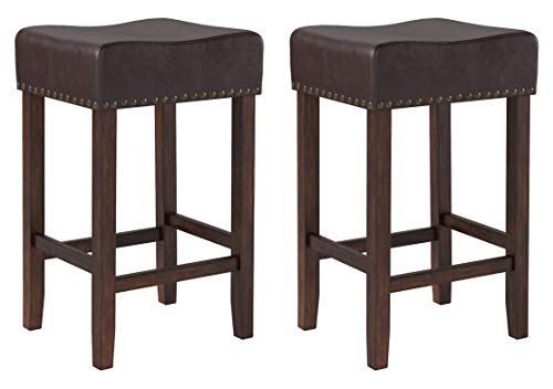 "Ravenna Home Lisetta Nailhead Saddle Bar Stool, 15.75""W, Espresso with Dark Brown Faux Leather (2 Pack)"