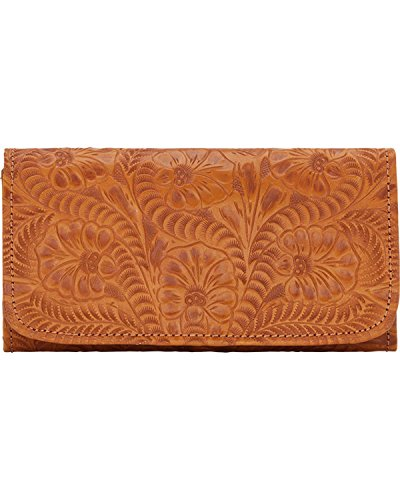 Tan Tooled - American West Women's Tri-Fold Wallet With Snap Closure Tan One Size