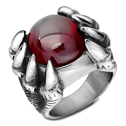 GUSTA Men's Oval Square Rhinestone Claw Setting Ring Engagement Wedding Finger Ring Jewelry Titanium Ring