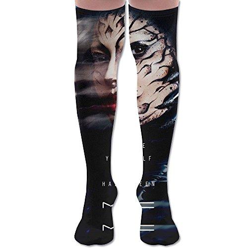 Men Women Halloween Makeup Face Premium Knee High Socks Athletic Soccer Crew Tube Sock Stockings Sports -
