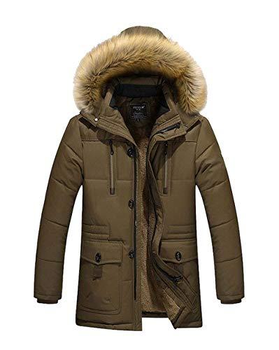 Esterno Pilot Uomo Parka Da Cappuccio Jacket Winter Giacca Ragazzo Kaffee Windproof Coat Con FgfqnxBw