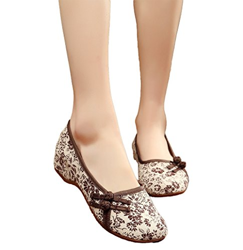 AvaCostume Womens Old Beijing Floral Pattern Flats Dancing Dress Shoes, Brown, 38 ()