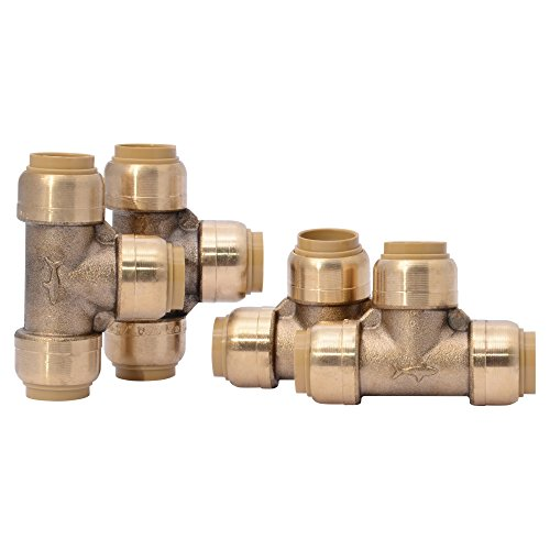 SharkBite U362LFA4 Tee Plumbing Pipe Connector 1/2 In, PEX Fittings, Push-to-Connect, Copper, CPVC, 1/2 inch, 4 count