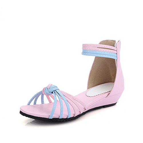 AdeeSu Ladies Zip Ankle-Wrap Round-Toe Suede Flats Sandals Pink 1spME6yz
