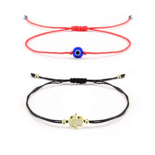 Shonyin Lucky Hamsa Evil Eye Bracelets Red String Kabbalah Adjustable Bracelets for Family Women Men Girls Boys 2 pcs/Set ()