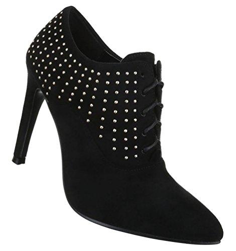 Damen Stiefeletten Schuhe Kurzschaft Ankle Boots Schwarz 36 37 38 39 40 41 Schwarz