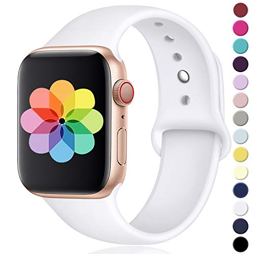 (DGege Compatible with Apple Watch Band 44mm 42mm, Medium/Large, for Men Women, White, Silicone Sport Replacement Band Compatible with Apple Watch Series 3, Series 4, Series 2, Series 1)