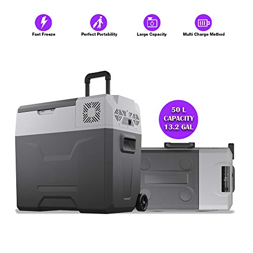 BornTech Electric Cooler Portable Refrigerator Freezer Compact Fridge freezer Electric Cooler for Car, RV, Vehicle, Boat, Home Use, Travel, Camping Truck Party, Picnic Outdoor (50 Liter (52 Quart)) ()