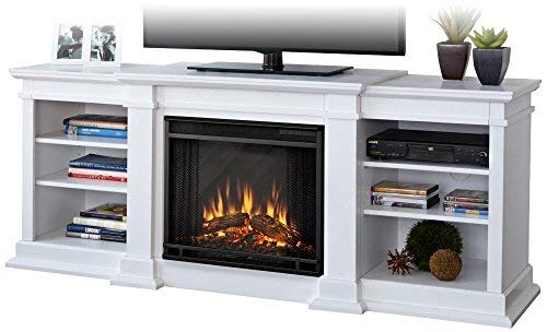 Electric Lift Fireplace Tv - Real Flame G1200E-W Unit G1200E Fresno Entertainment with Electric Fireplace, Large, White