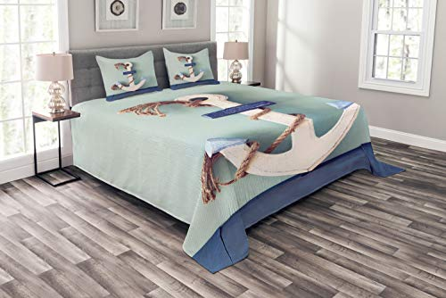 (Ambesonne Anchor Bedspread Set Queen Size, Wooden White Rusty Marine Boating Anchor and Rope Motif Design, Decorative Quilted 3 Piece Coverlet Set with 2 Pillow Shams, Pale Blue )