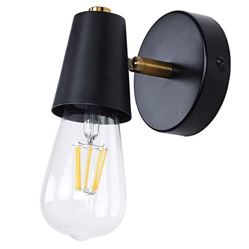 MantoLite Zwart Wandlamp, E27 Edison-lampen Wandkandelaar Verstelbare Lamphouder,Industriële Leeslamp Wandlampen Voor…
