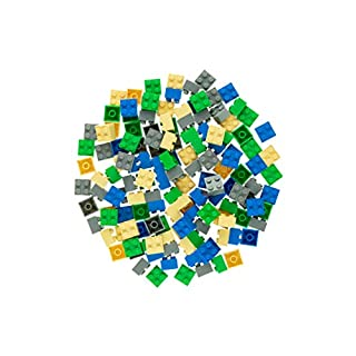 Strictly Briks Classic Bricks 144 Piece 2x2 Blue, Green, Gray, and Sand Building Brick Creative Play Set - 100% Compatible with All Major Brick Brands