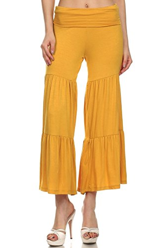 (Plus Size) Pleated Crop Fold-Over Waist Self Band Palazzo Pants (MADE IN U.S.A)
