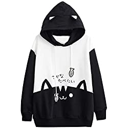 MNLOS Sudadera de Manga Larga con Estampado de Gato de Moda para Mujer 2019
