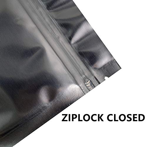 Smell Proof Bags 8x12 Inch Resealable (50 Pack) Mylar Aluminum Packaging Storage Bag Transparent Plastic Ziplock Heat Seal (Silver)