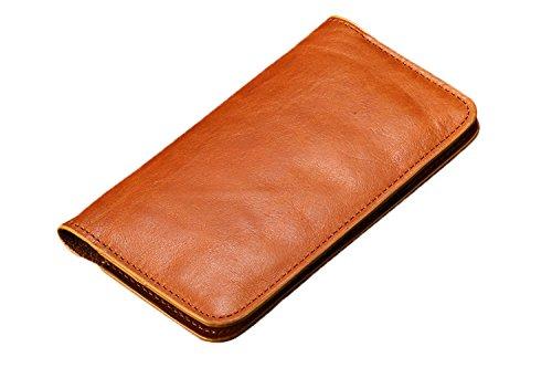 Exklusiver Echtleder Smartphone Geldbeutel - Geldbörse / Tasche / Hülle / Case / Halter / Kartenhalter / Kartenetui / Schutzhülle / Schlüsselmäppchen / Etui - Geld / Bargeld / Geldscheine / EC-Karte / Kreditkarte / Münzen / Geldschein / Karten / Ausweis - Leder - 4,7 Zoll iPhone 6 / 6s / 5 / 5c / 5s / 5se / Samsung Galaxy / Sony - Geschenk + Accessoire + Schmuck