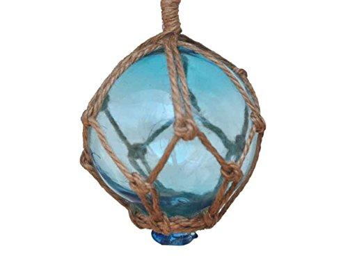 "Hampton Nautical  Light Blue Japanese Glass Ball Fishing Float with Brown Netting Decoration 3"""