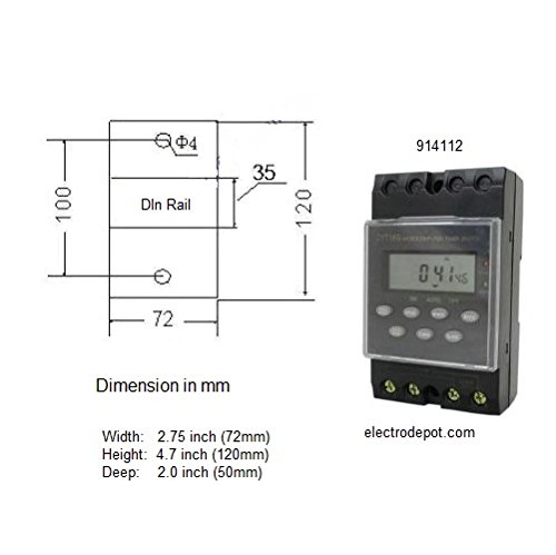 7 Day 24 Hour Digital Timer 120VAC, 25Amp, Manual Override, DIN or Surface mount by Migro