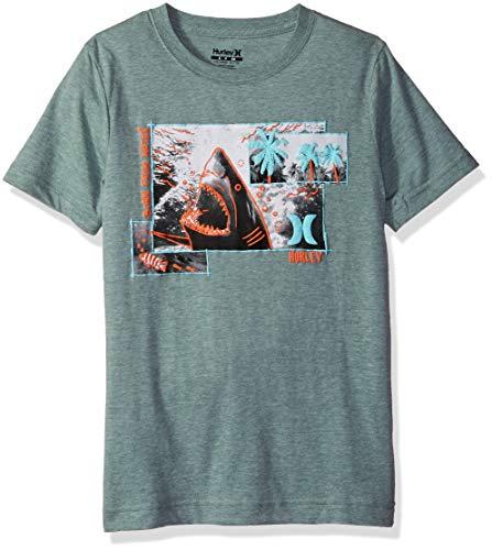 Hurley Boys' Big Character Graphic T-Shirt, Clay Green Heather Sketchy Shark, -