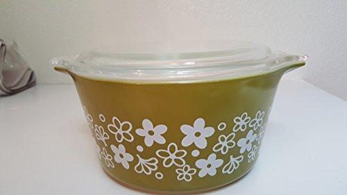 Pyrex (1 qt) Spring Blossom / Crazy Daisy Green Cinderella Casserole Baking Dish Bowl (No. 473)
