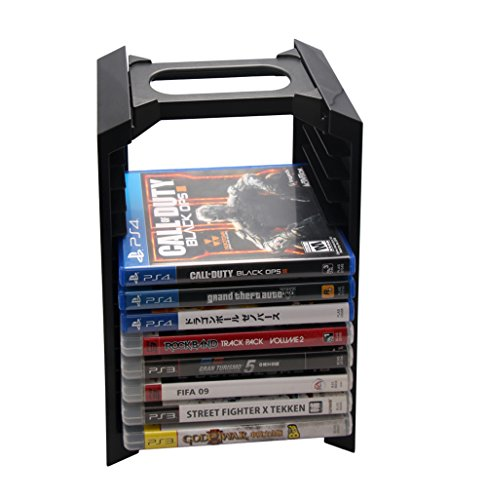 CestMall PS4 Multifunctional Storage Stand Kit - Alloy Game Disk Storage Tower (Dual Charging Dock NOT Included) for Holding 12 Games/DVDS/Blu-ray with Console Stand for Sony PlayStation4 PS4 Black