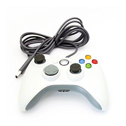 Stoga filaire contrôleur manette de jeu USB pour MICROSOFT Xbox 360 PC Windows7 XP-blanc