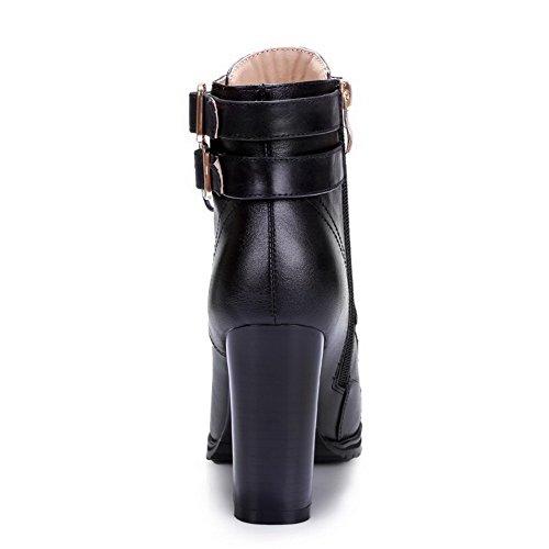 BeanFashion Womens Zipper Low-Top Soft Material High-Heels Closed Toe Solid Boots Black-Buckle 8ViJQX