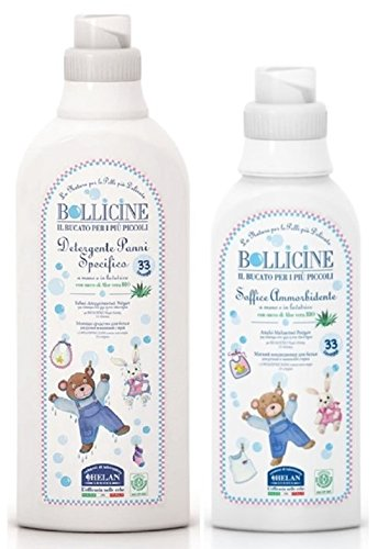Bollicine Certified Eco Organic Baby Clothes Laundry Liquid and Fabric Softener for Sensitive Skin, Dermatology Tested, Vegan Friendly, Natural Helan 5060425241339